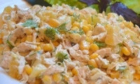 Салат из капусты и копченой курицы